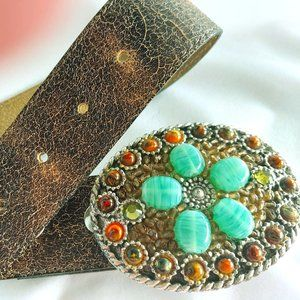 Vtg  CACHE Leather Belt w/embellishe bucke Sz L